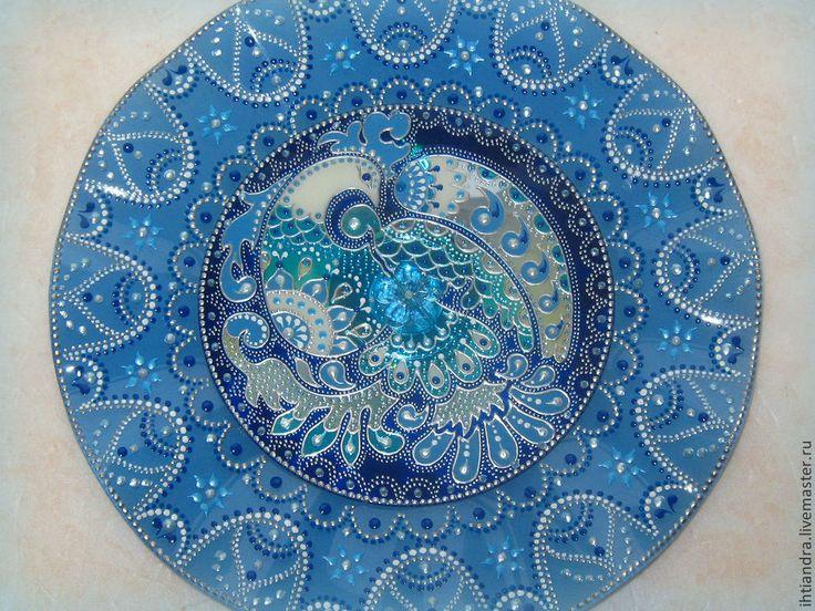 Купить Синяя Птица Декоративная тарелочка с витражной росписью на диске - тарелочка, Тарелка декоративная