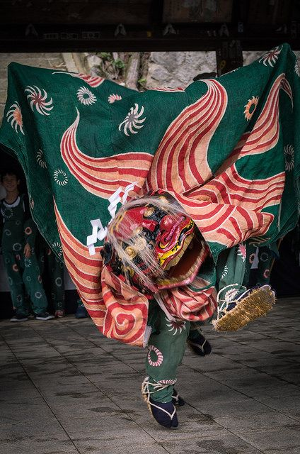 Japanese Lion Dance, Shishi-mai 獅子舞: The dance is commonly performed during the New Year where the lion dancers may be accompanied by flute and drum musicians.