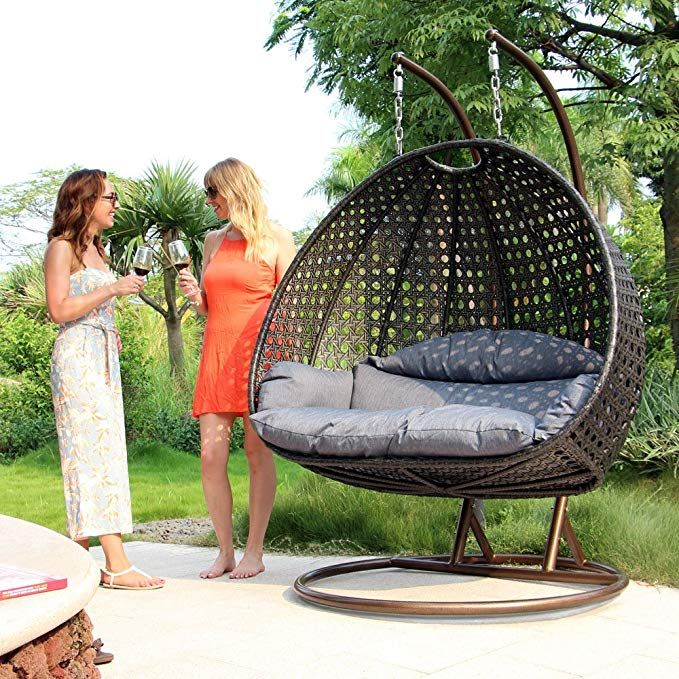 Amazon Com Dubai Collection Wicker Swing Chair With Stand Pro 2 Person X Large Pro Latte Gard Hanging Swing Chair Swinging Chair Outdoor Porch Furniture