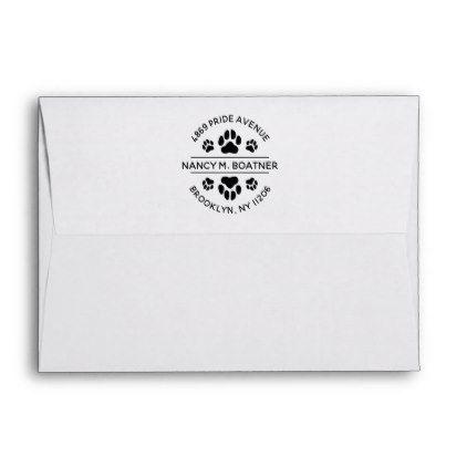 Paw Print Envelope With Return Address