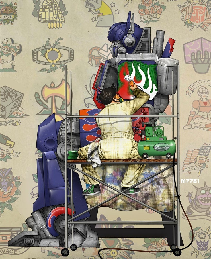 Optimus Prime x Norman Rockwell by Marco D'Alfonso