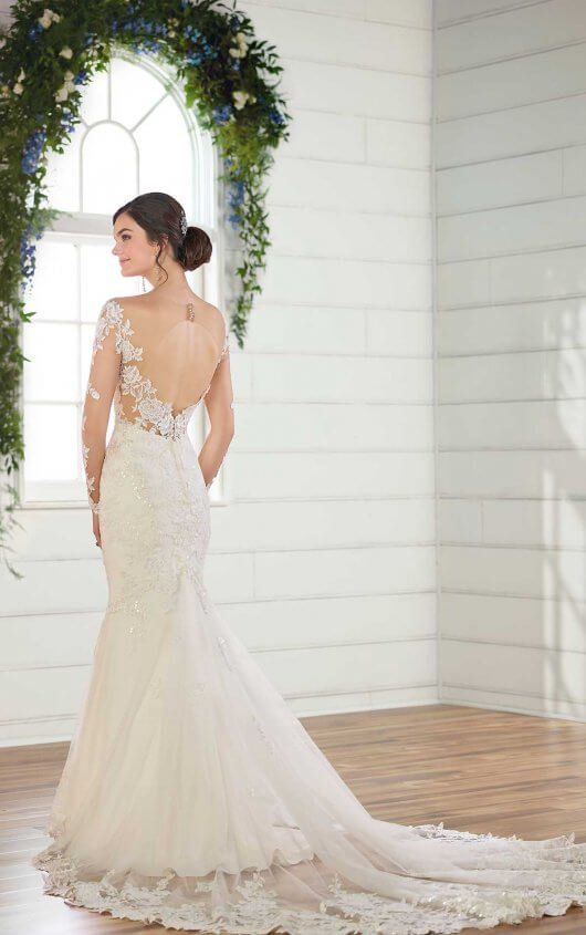 5e71b39437680 D2602 Wedding Dress with Lace Sleeves and V-Neck by Essense of Australia
