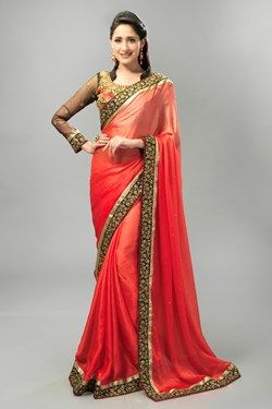 Sarees,Admyrin,Red Satin Chiffon Saree With Blue Dupioni Embroidered Blouse