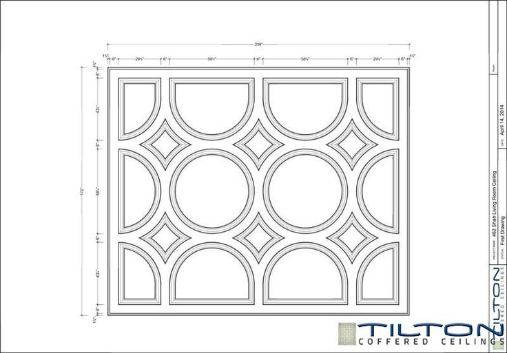 Coffered Ceiling Design Drawing - Bespoke 36