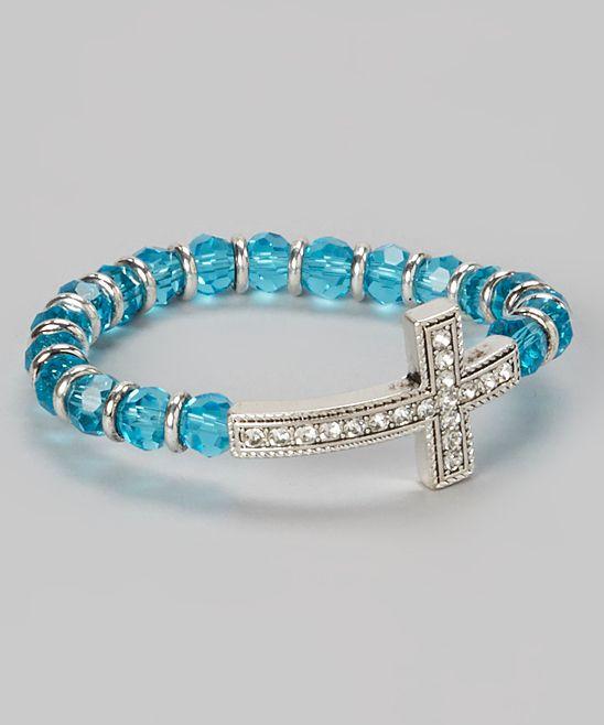 Aqua Crystal Cross Bracelet