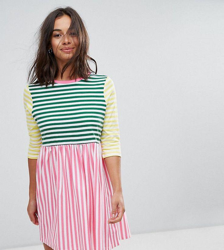 ASOS PETITE Cut About Stripe Mini Smock Dress - Multi