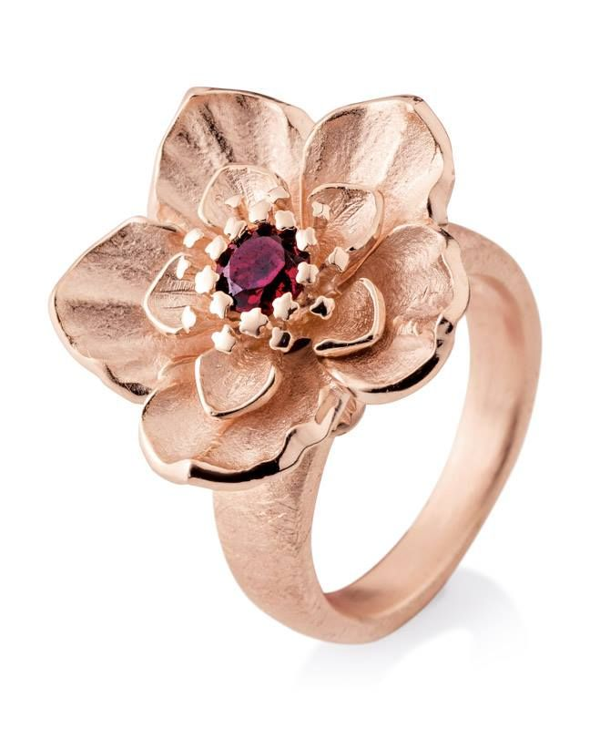 New Spring Summer Collection by Drachenfels Design, stunning Rose Gold silver Flower ring with Rhodolite Stone €397