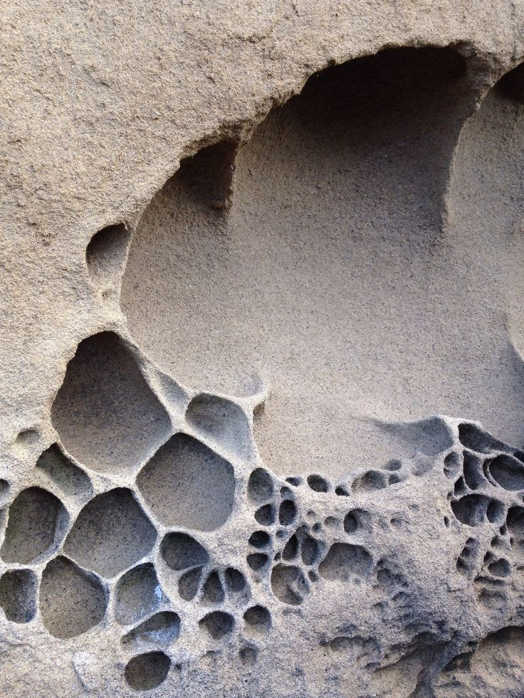 Organic Textures - weathered rock formation with sculptural patterns in chalky taupe; nature's artwork
