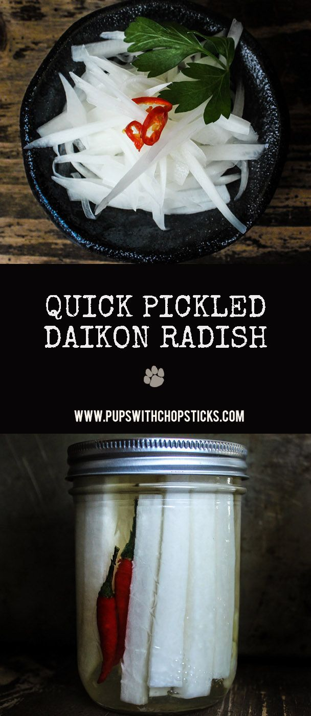 Sweet, tangy with a nice crunch, these pickled daikon radishes are quick to make and require no heat, just a refrigerator!