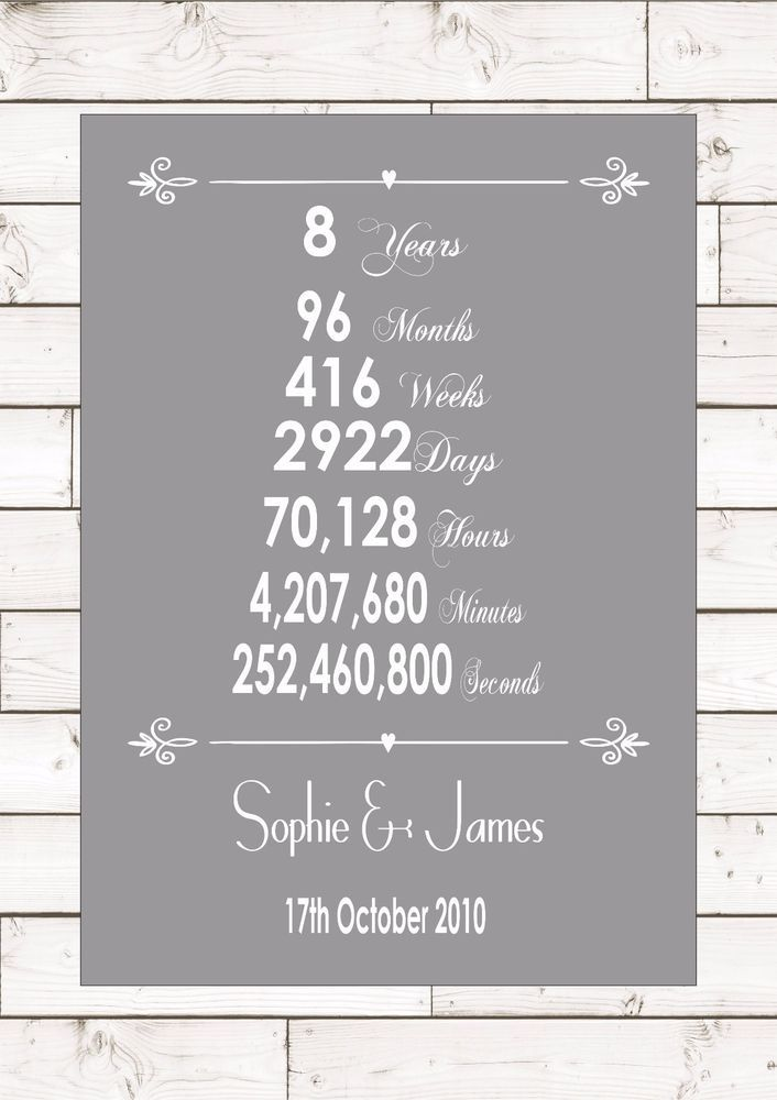 8th Anniversary Quotes : anniversary, quotes, Anniversary, Eighth, Eight, Years, Wedding, Personalised, Keepsake, Anniversary,, Quotes,, Gifts