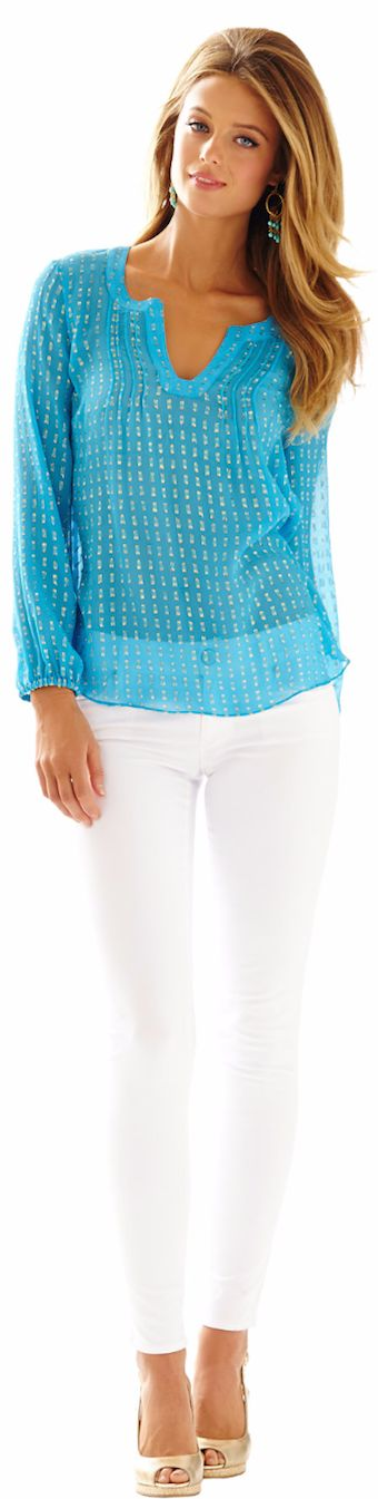LILLY PULITZER COLBY SILK METALLIC DOT TOP