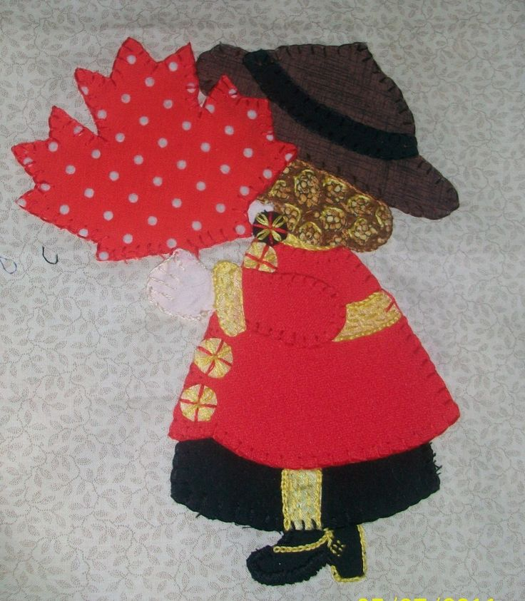 Sunbonnet Sue goes north to Canada.  From the International Sunbonnet Sue project at Sunny Sue Applique