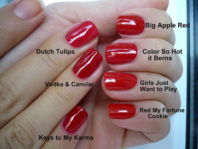 (all OPI, t-b starting left) Dutch Tulips ; Vodka & Caviar ; Keys To My…
