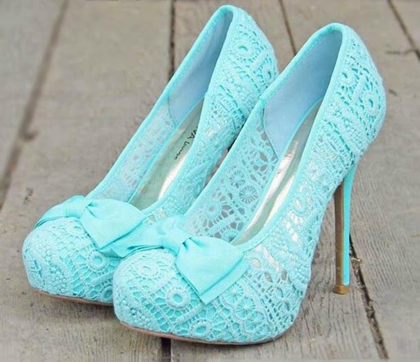 High Heels Blue Lace Prom Shoes 2014