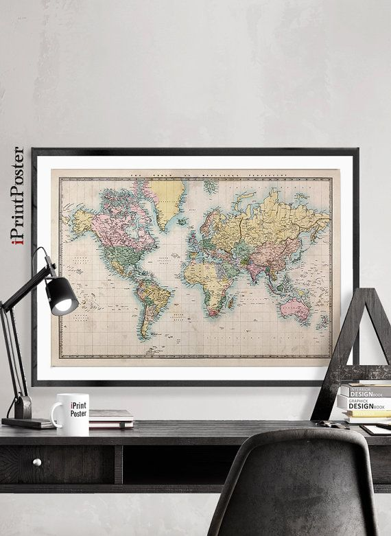 Vintage world map Art Print 1850 old world map by iPrintPoster