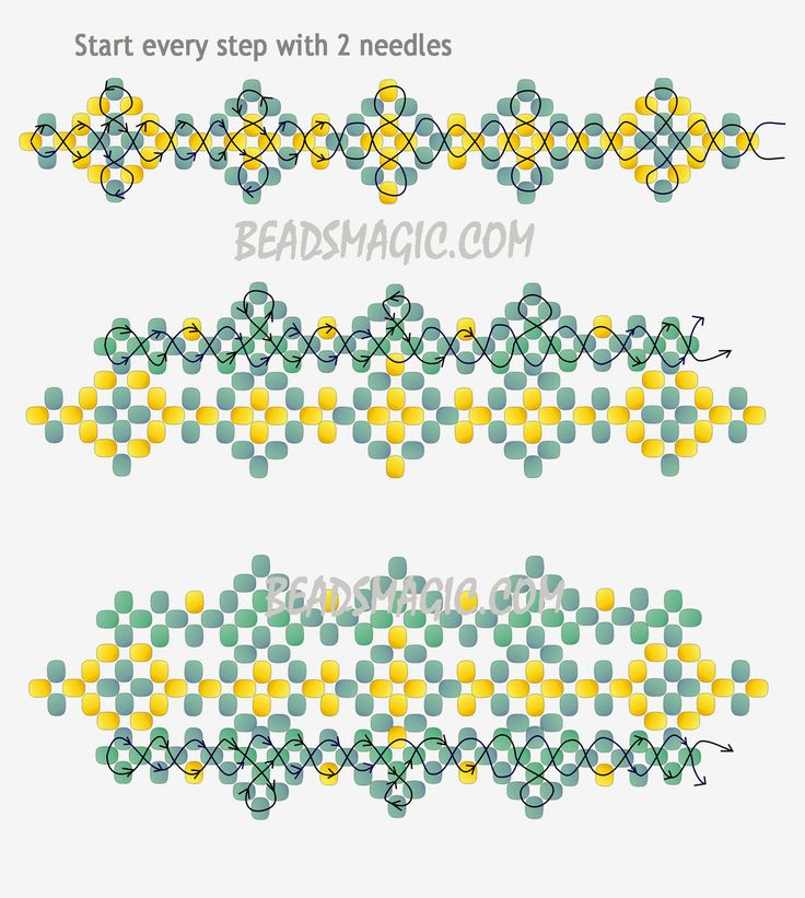 Free pattern for bracelet Theresa | Beads Magic - 2 - U need seed beads 11/0 according to BM but I prefer bigger beds 8/0 for example. or Pearls 3 mm.