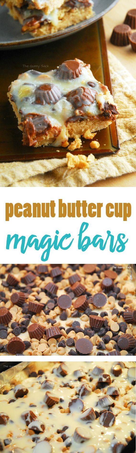 Peanut Butter Cup Magic Bars Recipe | Reese's Peanut Butter Cup Minis are the perfect size for this peanut butter cookie bar recipe. This is another cake mix recipe that is easy to make and tastes delicious!