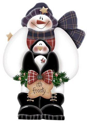 CHRISTMAS SNOWMAN AND PENGUINS CLIP ART