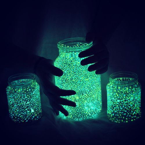 DIY Fairy Glow Jars; jar, glow in the dark paint, and some paint brushes
