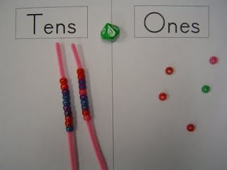 Place Value with beads    Play alone or with a partner. Roll a dice (I used10 sided) Put that number of beads on the ones side. Take turns rolling and adding beads. When you can make a 10 put the beads on a pipe cleaner cut in half to keep them together and reinforce the concept of 10 being 1 unit. Play until the student reaches 50 or the first student to reach 50 wins.