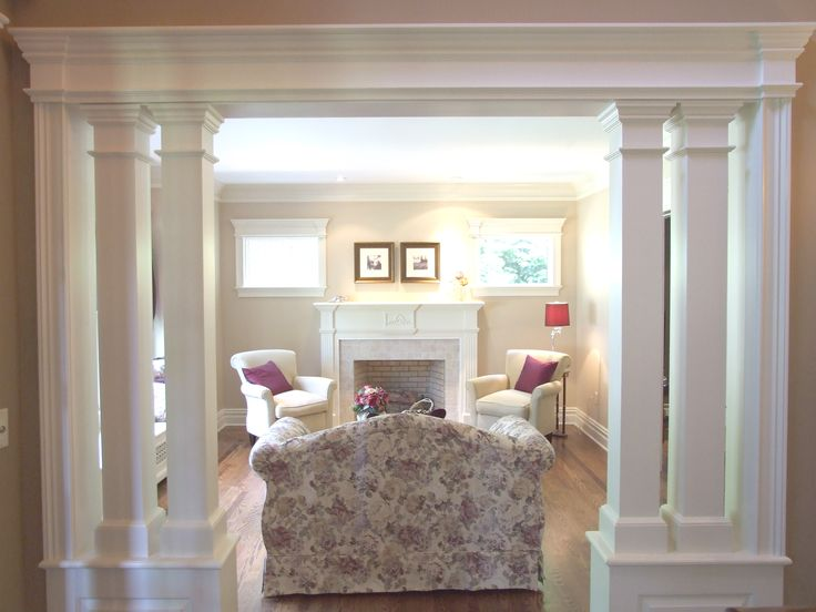 Living Room With Interior Columns Low Wall Interior