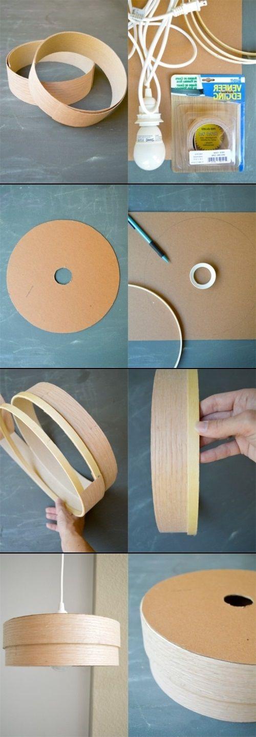 DIY Wood Veneer Pendant Lamp is simple & chic!