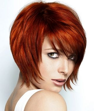medium red straight coloured bob copper volume big-bouncy hairstyles for women
