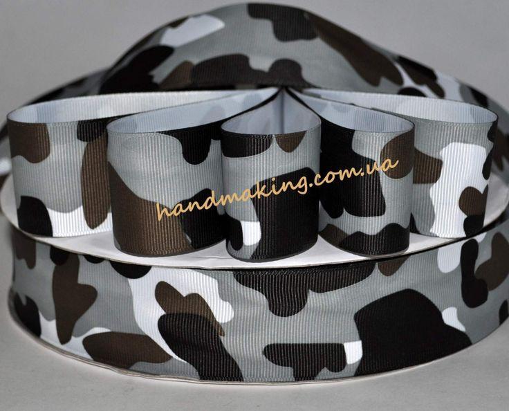 Лента репсовая 4см камуфляж серо-коричневый - С рисунком 40мм - Интернет-магазин рукоделия