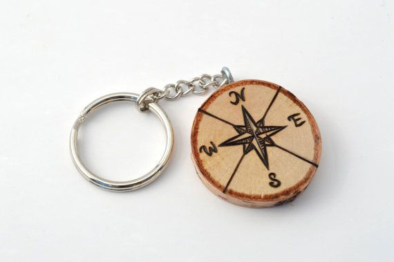Compass Custom Wooden Keychain Pyrography Wood by ChaingeArts
