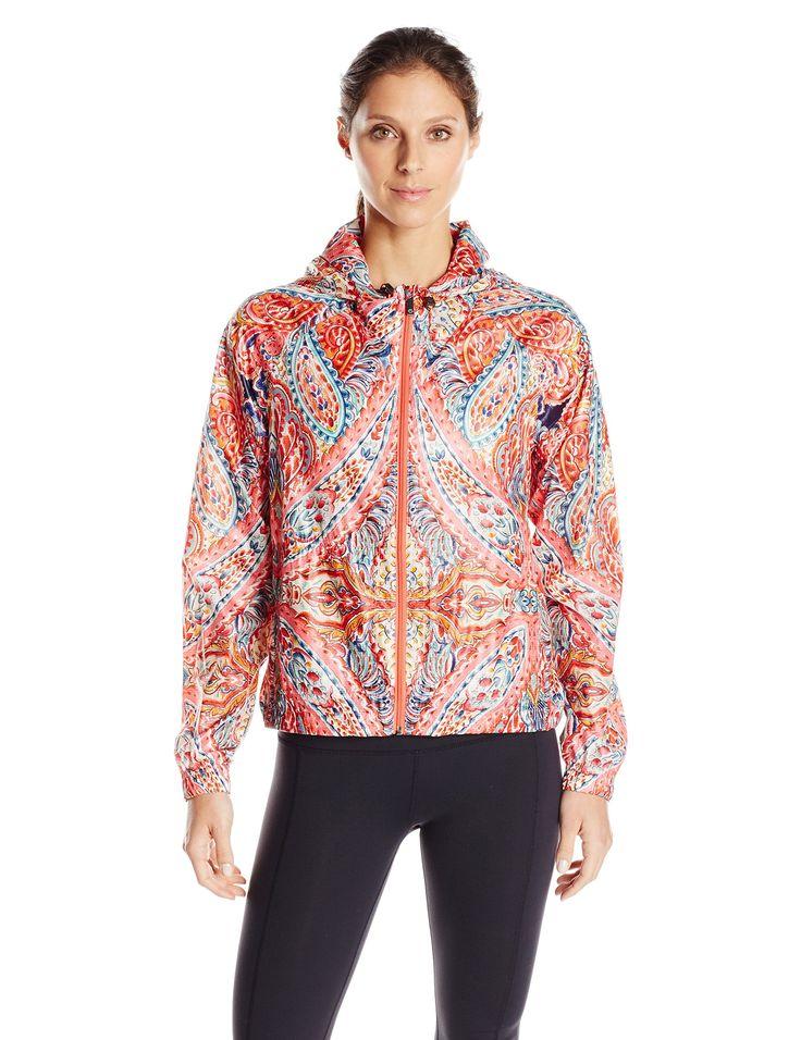 "Nanette Lepore Play Women's ""Carousel"" Print Hi-Low Packable Windbreaker, Carousel Print, Medium. Light weight packable jacket for easy travel. Sheer light weight fabric."