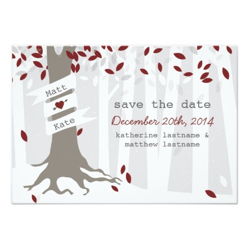 Forest Woodland Winter Snow Red Save The Date Card
