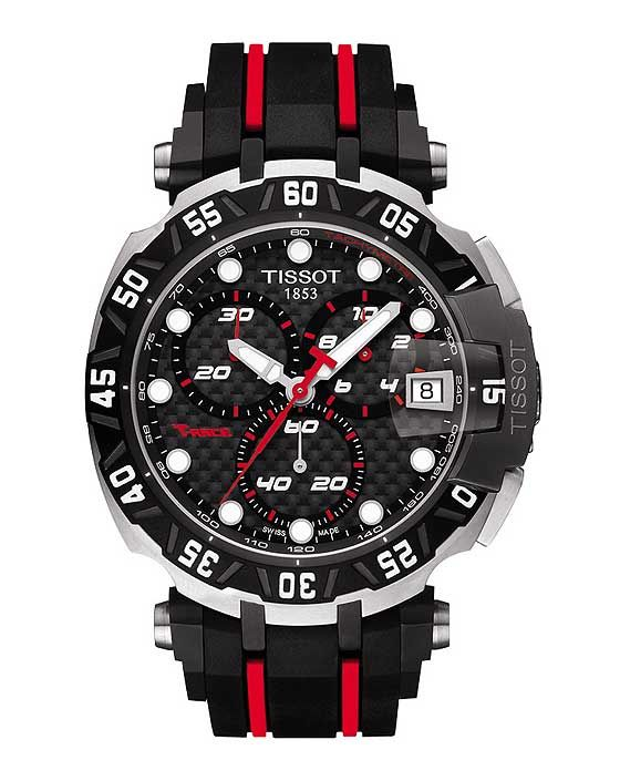 The Tissot T-Race MotoGP Limited Edition 2015, with Swiss quartz movement, sports a red-and-black motif and stainless steel-black PVD case; its caseback has a silk printed MotoGP logo on sapphire glass. #tissot #watchtime #watchonwheels