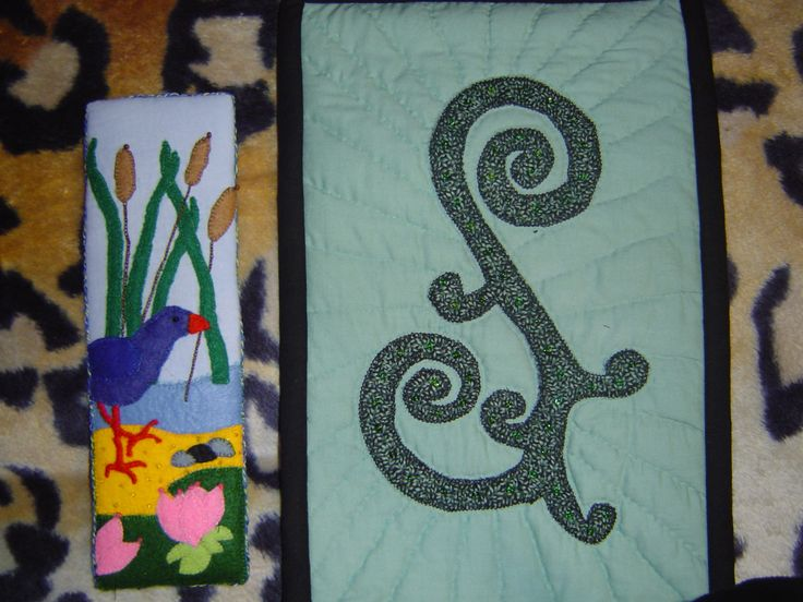 """Felt Pukeko picture and Applique and Bead wall hanging called """"Dew on a Fern Frond"""