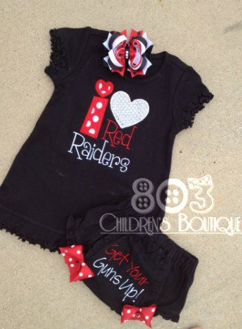 Sports I Heart Red Raiders   This listing is for a custom I Heart Red Raiders dress. This design is machine embroidered directly on to the shirt. No stickers or iron ons used at our shop.   You can add a M2M (made to match) hair bow and diaper cover during checkout if you like.   Comes in sizes:  12m, 18m, 24m 3T, 4T 5/6, 6x