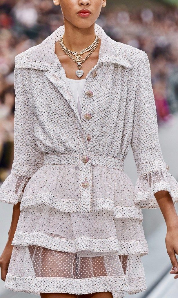 New Chanel Creative Director, Virginie Stayed, stayed true to the brand in her Spring 2020 Ready to wear collection. With a youthful Parisian girl play she created short shorts, romper jumpsuits and jackets of metallic leather and tweed.
