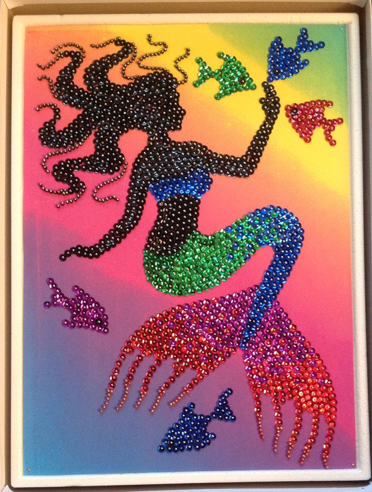 Sequin Art Mermaid Silhouette With Beads Dot Art