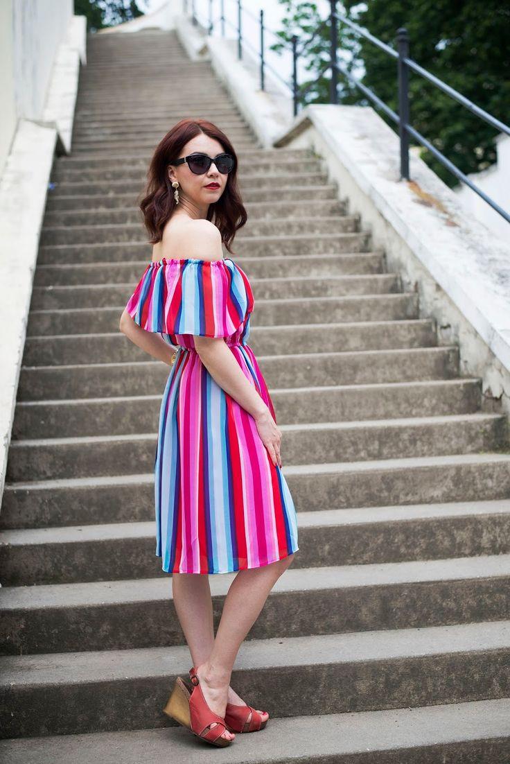 Off the shoulder, stipes, dress, summer dress, summer look