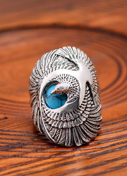 Men's Sterling Silver Turquoise Eagle Ring $49.5