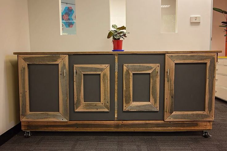 Recycled hardwood timber cabinet with four separate cupboards. Removable drawers. Made to order for Australia wide