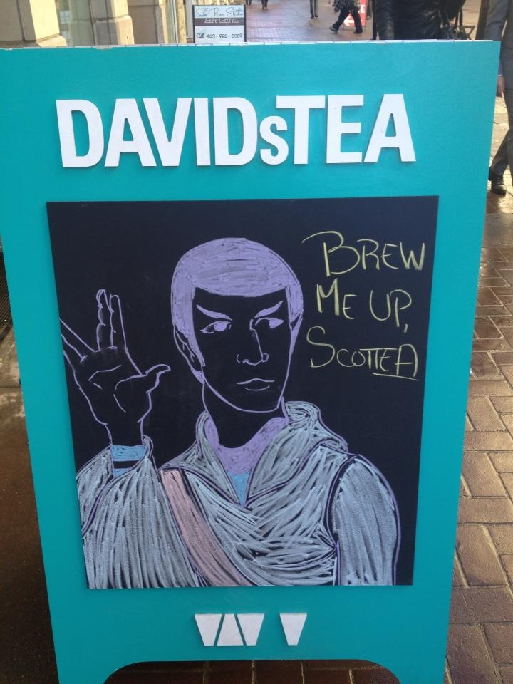 Live oolong and prosper - Star Trek chalkboard by our team at DT Stephen Ave in Calgary.