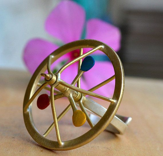 Spinning top ring Silver kinetic ring brass ring funky by atermono, €120.00