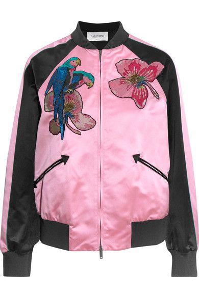 Valentino   Appliquéd silk-satin bomber jacket   NET-A-PORTER.COM