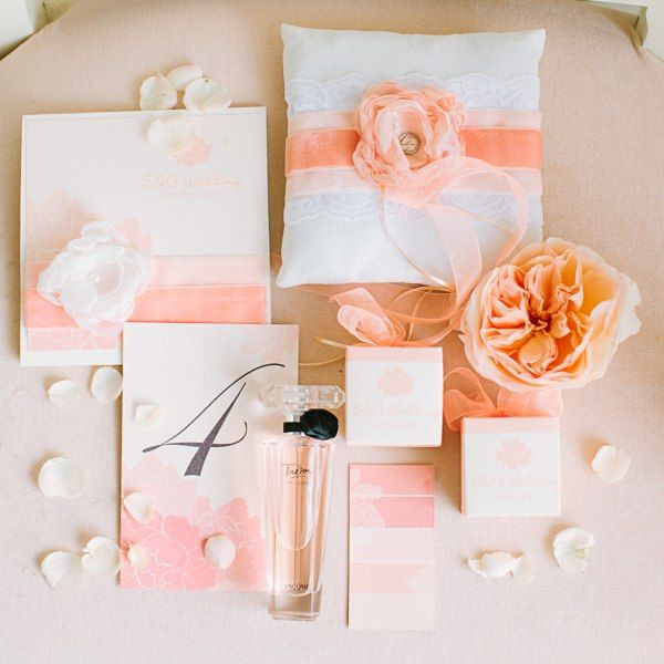 Wedding invitation, ring pillow, table number and bonbonniere in soft peach palette