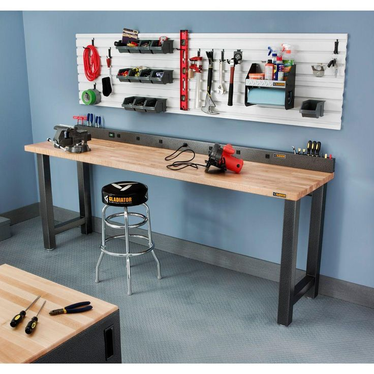 Workbench With Work Light Garage Bench Home Workshop: Gladiator 6 Ft. 9-Outlet Workbench Power Strip With Tool
