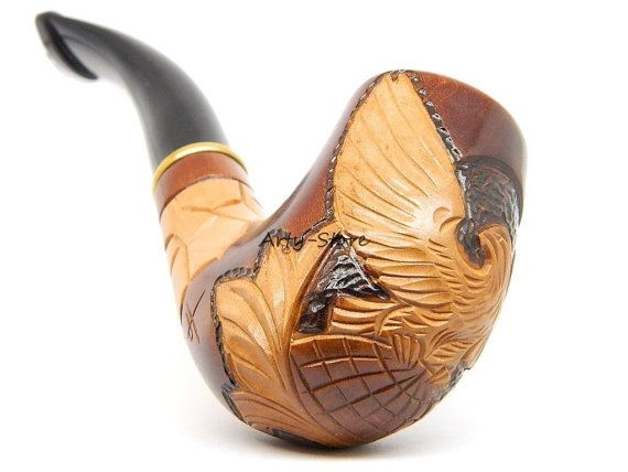 "Tobacco Smoking pipe ""Eagle on Globe"" Carving, Great Collectible plus Gift POUCH"