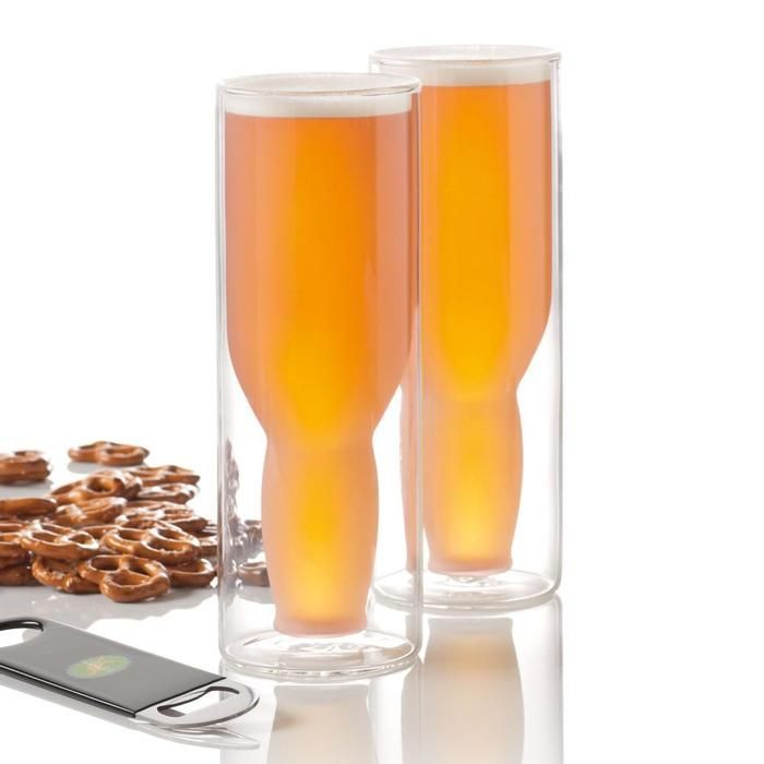 Two double-walled glasses keep beer frosty cold longer--includes opener!