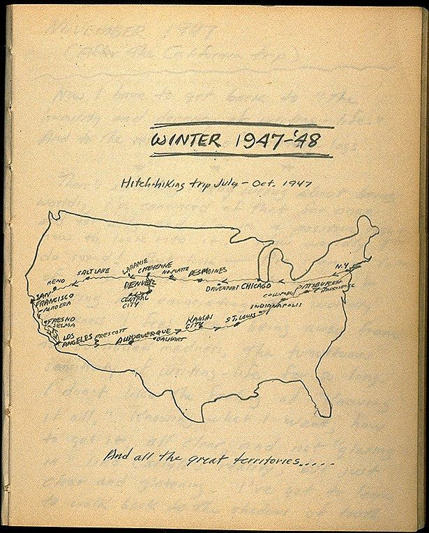 This map was found at the Kerouac Corner of a website called www.wordsareimportant.com. This map , apparently from one of Kerouac's own diaries, shows the itinerary of a trip from July to October 1947, much of which would later serve as the backdrop for 'On the Road'