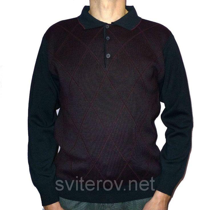 Бордовый свитер на пуговицах Woolen World (Турция) с воротником поло