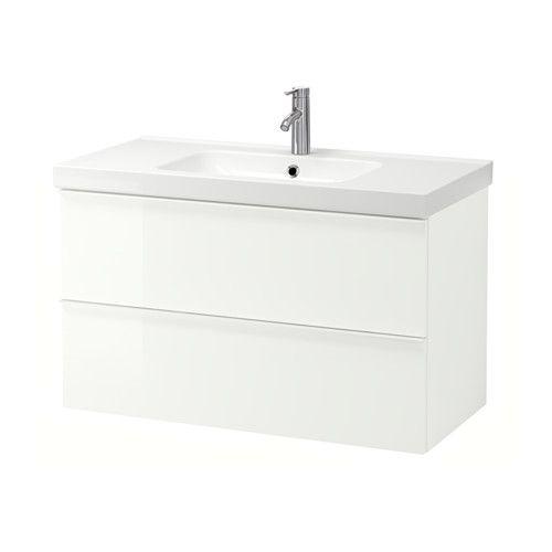 GODMORGON / ODENSVIK Servantskap med 2 skuffer - høyglans hvit - IKEA