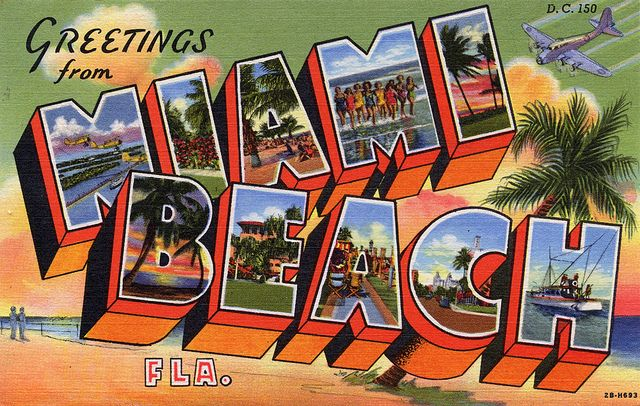 Vintage (1942) Greetings from Miami Beach, Florida - Large Letter Postcard by Shook Photos, via Flickr
